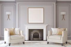 Interior con la chimenea 3d rinden libre illustration