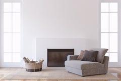 Interior con la chimenea 3d rinden ilustración del vector