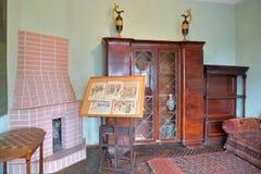 Interior con la chimenea, oficina en el Museo-estado del arte Fotos de archivo