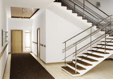 Interior con la escalera 3d stock de ilustración