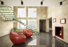 Interior con la escalera y la chimenea de cristal 3d Fotografía de archivo