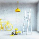 Interior con la lámpara pintada Fotos de archivo libres de regalías