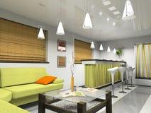 Interior con la persiana verde del sofá y del bambú Imágenes de archivo libres de regalías