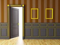 Interior con la puerta abierta stock de ilustración