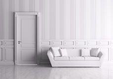Interior con la puerta y el sofá Fotos de archivo