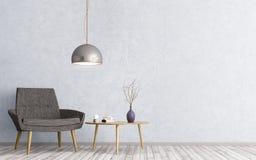 Interior con la representación de la butaca y de la mesa de centro 3d Imagen de archivo libre de regalías