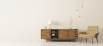 Interior con la representación de madera del gabinete y de la butaca 3d Foto de archivo libre de regalías