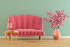 Interior con la representación del sofá fotos de archivo libres de regalías