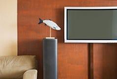 Interior con la televisión del LCD Foto de archivo