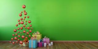 Interior con las bolas rojas, mofa verde de Cristmas de la pared para arriba ilustración del vector
