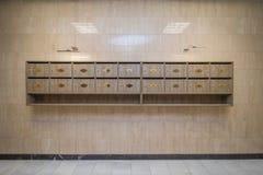 Interior con los buzones Imagen de archivo libre de regalías
