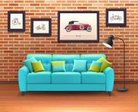 Interior con Sofa Realistic Illustration Imágenes de archivo libres de regalías