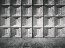 Interior concreto da sala com relevo 3d telhando Fotos de Stock
