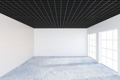 Interior concreto de la oficina del grunge moderno con la pared vacía Mofa para arriba, representación 3D Fotos de archivo libres de regalías