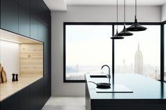 Interior concreto del estudio de la cocina Fotografía de archivo libre de regalías