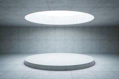 Interior concreto en blanco del espacio, representación 3d Imagen de archivo libre de regalías