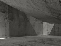 Interior concreto escuro abstrato, ilustração 3d Imagens de Stock