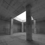 Interior concreto escuro vazio da sala com colunas Fotografia de Stock