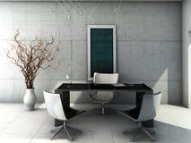 Interior concreto minimalista do escritório Imagens de Stock Royalty Free
