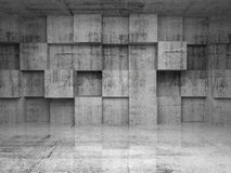 Interior concreto vacío abstracto con los cubos Foto de archivo
