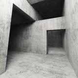 interior concreto vacío oscuro 3d con las entradas Fotos de archivo libres de regalías