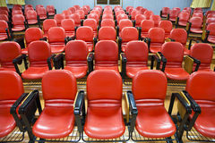 Interior of  conference hall with red chairs Stock Images