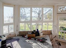 Interior construction site during the renovation of a house, selected focus stock image