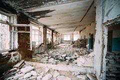 Interior constructivo abandonado Desastres de Chernóbil Fotografía de archivo libre de regalías