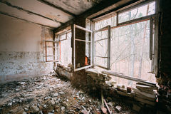 Interior constructivo abandonado Desastres de Chernóbil Fotografía de archivo