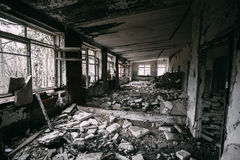 Interior constructivo abandonado Desastres de Chernóbil Imágenes de archivo libres de regalías