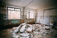 Interior constructivo abandonado Desastres de Chernóbil Imagen de archivo libre de regalías