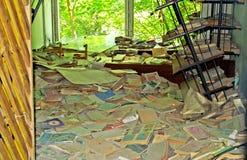 Interior constructivo abandonado en escuela en la zona de Chernóbil Imágenes de archivo libres de regalías