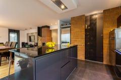 Interior contemporáneo de la cocina imágenes de archivo libres de regalías