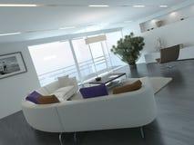 Interior contemporáneo del desván de la sala de estar imagen de archivo