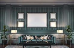 Interior contemporáneo en tonos verdes con un sofá y un papel pintado rayado representación 3d ilustración del vector