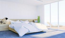 Interior contemporáneo moderno blanco del dormitorio con el spce de la copia en la pared para la mofa para arriba