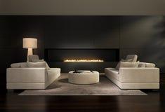 Interior contemporáneo oscuro, una sala de estar con una chimenea de gas plana Fotografía de archivo