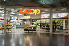 Interior of Coop supermarket store. Lugano, Switzerland - 1 July 2010: interior of Coop supermarket store on the mall of Lugano on Switzerland Royalty Free Stock Images