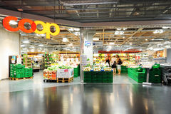 Interior of Coop supermarket store Royalty Free Stock Photography