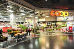 Interior of Coop supermarket store Stock Images