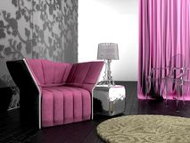 Interior cor-de-rosa do projeto Fotos de Stock Royalty Free