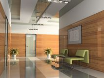 Interior of the corridor. In office 3D rendering stock photo