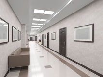 Interior corridor with doors Royalty Free Stock Images