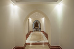 Interior corridor of large villa with arches Royalty Free Stock Photos