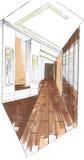 The interior of the corridor. The modern interior of the corridor hand drawn sketch interior design Stock Photos