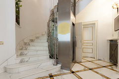Interior of a corridor with passenger lift.  Royalty Free Stock Photo