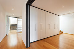 Interior, corridor with wardrobes Royalty Free Stock Image