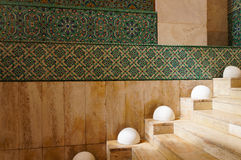 The interior corridors at the Hassan II Mosque in Casablanca, Mo Stock Image