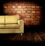 Interior with a couch, wall Stock Photography
