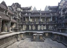 Interior Courtyard of Angkor Wat Temple Stock Photos